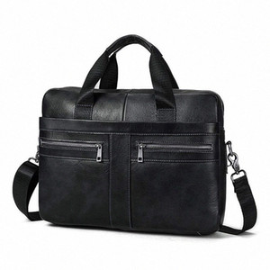 14 Inch Genuine Leather Handbag Briefcase Laptop Document Holder Men Business Women Black D6HU#