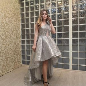 Yousef Aljasmi Dubai Arbic Cheap A Line Hi-Lo Prom Dresses Backless One Shoulder Sequins Lace Formal Evening Party Pageant Gowns