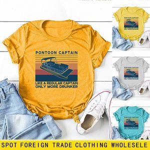 Pontoo Cap 패션 프린트 반소매 라운드 넥 루스 캐주얼 풀오버 바닥 티셔츠 레이디