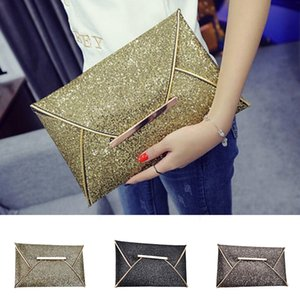 Designer-shiny envelope clutch wedding bags for women evening party bag glitter ladies hand bags black purse handbag