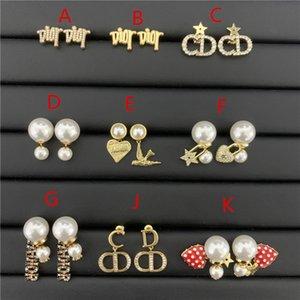 Dijia d Home Anti Allergy New Jewelry Diamond Earrings Pearl Letter Size Tassel Female