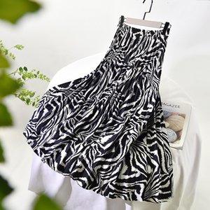 2021 Весна высокая талия A-Line плиссированная мода стрейч два слоя женская юбка Jupe Femme SAIA 8J2T