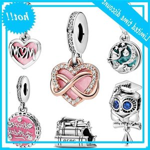 Fashion 925 cuentas de plata esterlina Beads Mamá Script Sparkling Infinities Heart Charms Fit Original Pandora Bracelets Mujeres DIY Joyería
