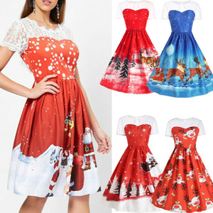 Womens Dresses Vintage Christmas Hollow Out Lace Sleeve Swing Dress Formal Ladies Party Skater Lace Dress Xmas Women Dresses