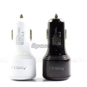 Yüksek Kalite Çift QC3.0 2 Bağlantı Noktaları USB Araç Şarj Paket Olmadan Cep Telefonları için Taşınabilir Hızlı Şarj