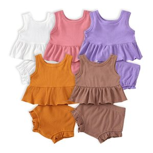 Baby Clothing Toddler Girls Sleeveless Solid Pit Strip Camisole Suspender Vest Tops+Ruffles Shorts Suit Outfits Fashion Baby 2PCS Set ZYY727