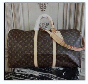 1-5LVLOUISVUTTON Women Leather Luggage Bag Designer Handbags Men Business Travel Shoulder Bags Top Duffel Bag Tote 55CM