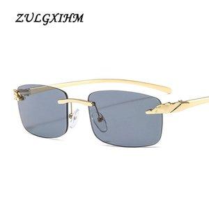 Zulgxihm Kleine Rechteck Sonnenbrille Frauen Randlose Quadratische Sonnenbrille Für Frauen 2021 Sommer Stil Weibliche UV400 Grün Braun