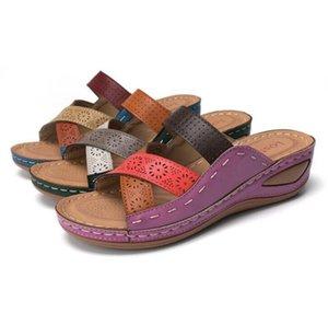 2022 Women Fashion Designers Flat Slides Flops New Sandals Shoes Slippers Print Women Designers Flat Slides Summer Wide Flat
