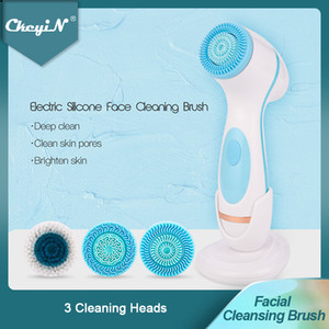 3 In 1 Electric Facial Cleansing Brush Silicone Rotating Face Brush Deep Cleaning Skin Peeling Massager Cleanser Exfoliation 50