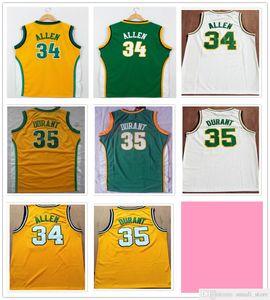 Мужские лучи 34 аллен трикотажные изделия Vuntage желтый зеленый белый цвет Kevin 35 Durant баскетбол рубашки колледжа быстрая доставка