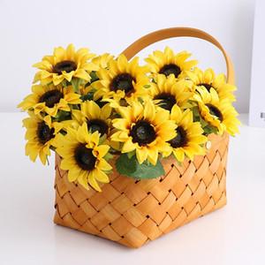 10Pc Simulation Small Sunflower Silk Flowers For Home Decoration Flower Arrangement Wedding Bride Holding Fake Flowers Floral
