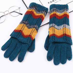 New Women Winter Keep Warm Double-Layer Knitted Gloves Soft Elegant Female Fashion Mid-Length Color Matching Glove Girls Mittens