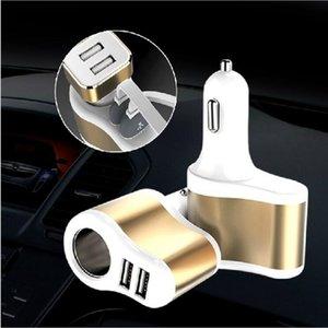 500SET / LOT * 3 в 1 двойной двойной двойной USB 2 порты сигареты автомобильные зарядные устройства адаптер для iPhone мобильных телефонов PC Bluetooth динамики