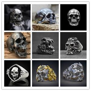 Venta al por mayor 9 estilos Calvarium de hombre Anillo de cráneo retro gótico 316L Anillo de motocicleta Banda de motocicleta Joyería