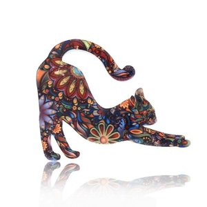 Pins, Brooches Acrylic Animal Brooch Cute Cat Printing Jewelry Gift Male Female 2021 Arrival