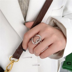 Cluster Rings Trendy Fashion Silver Gold Color Hollow Double Circel Cross For Women Girl Minimalist Punk Cool Party Ring Jewelry