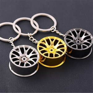 Auto Turbo Hub Keychain Wheel Rim Car Keyring Zinc Alloy Fob Tire Styling Key Chains Silver Gold Black Good quality