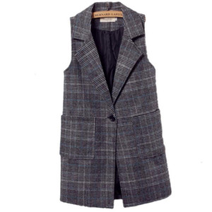 Plus size 5XL V-Neck pockets spring autumn sleeveless blazer slim plaid women vest
