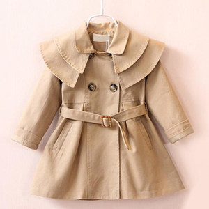 Children Toddler Girls Trench Autumn Long Sleeve Turn-down Collar Fashion Trench Coats Kids Solid Outerwear with Sashes Costume1