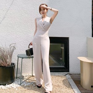 Elegant 2021 Business Sleeveless Jumpsuits Women New Wide Leg Long Playsuits Casual Office Lady Work Wear Rompers 9NY5