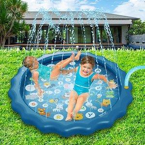 170cm Kids Inflatable Water Spray Pad Round Water Splash Play Pool Playing Sprinkler Mat Yard Outdoor Fun PVC Swimming Pools X0710