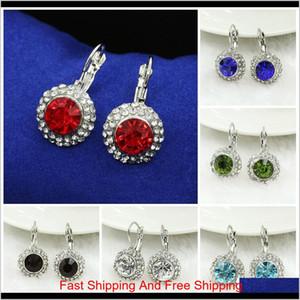 Earrings For Women Silver Plated Swarovski Jewelry Elegant Rose Round Moon River Drop Earrings For Women Austrian Crystal Earrings Zlh Tygbe