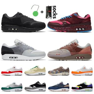 Nike Air Max 1 Stock x Women's Men's Running Shoe 2021 New triple Black London Amsterdam Evergreen aura Denham N7 Grey Brown Spray limonade shoe