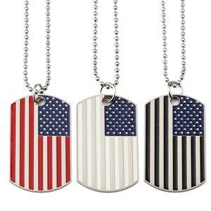 Neue amerikanische Flagge Anhänger Halsketten Vergoldet Edelstahl Militärarmee Tag Trendy USA Symbol Für Männer / Frauen Schmuck WLL5