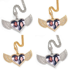 18K Gold Plated Custom Made Photo Wings Heart Shape Medallions Necklace Pendant 4mm Tennis Chain Cubic Zircon Men's Hiphop Jewelry 135 R2