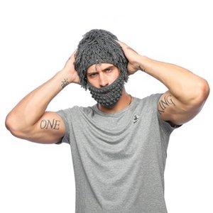 Creative straw hat men's knitting hat autumn and winter hand hook detachable wool beard weird hair cap