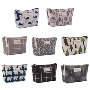 Animal Bear Printed Canvas Pencil Case Handbag Zipper Pen Pouches Cosmetic Bag Makeup Bags Phone Clutch Bag Storage Bags Organizer 8 Colors