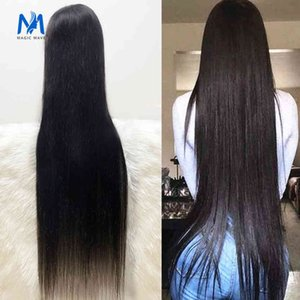 Magic Wave 30 34 38 40inch Pre Plucked Straight Hu Hair s Brazilian Front 13x4 Lace Closure Wig