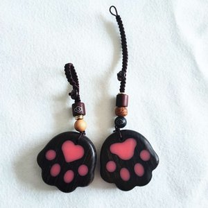 Red sandalwood small black cat claw pendant bag key chain car accessories with hand gift