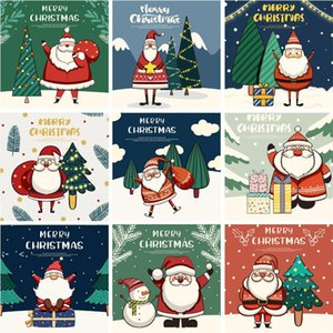 30-Packed Christmas greeting cards Cute cartoon santa snowman Blessing message postcard RRF11065