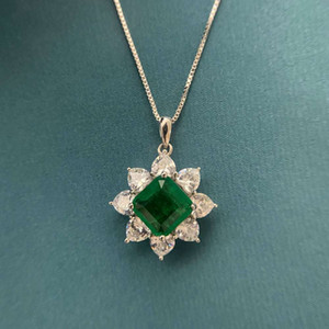 HBP fashion Jewelry NEW 10 * 10mm full diamond heart shaped emerald cutting pendant women's luxury Necklace metalworking