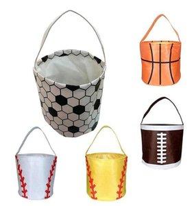 Easter Handbag Basketball Easter Basket Sport Canvas Totes Football Baseball Soccer Softball Buckets Storage Bag Candy Handbag ZC019