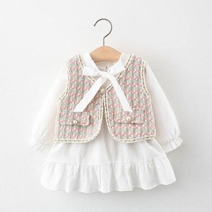 Girls Sets Baby Suits Cute Cotton Long Sleeve Dresses Waistcoat 2Pcs Spring Autumn Kids Sets Baby Girl Clothes 1-5Y B4167