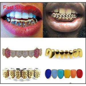 18k Gold Teeth Braces Punk Hip Hop Multicolor Diamond Custom Bottom Teeth Grillz Dental Mouth Fang Grills Tooth Ca qylnHN bdehome
