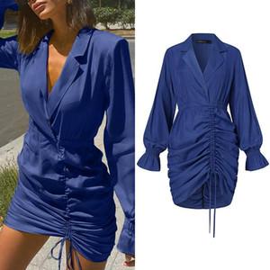 Celmia elegante terno vestido de gola mulheres elegante cordão plissado mini vestido 2021 verão sexy bodycon manga comprida vestidos