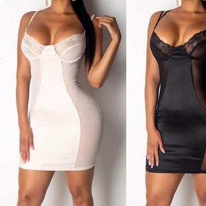 Women Sleeveless Bodycon Sexy Dress Club Short Mini Dress Lace V Neck See Through Nightdress Black White Femme Les robe