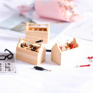 Dollhouse accessories miniature food and play scene model mini wooden toolbox photography decoration props