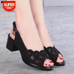 Women's Sandals Really Soft Leather Summer Mesh Fish Mouth Chunky Heel Semi-High Heeled Hollow out Soft Bottom Mom Shoes As223 #BK0d