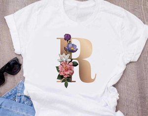 womens printing combination Custom High quality name letter T shirt Flower letter Font A B C D E F G Short sleeve