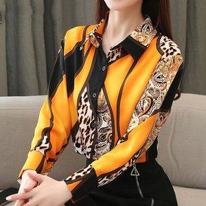 Blusa mulheres moda chiffon camisas mulheres escritório senhora tops spled leopardo blusas femininas camiseta botão leopardo