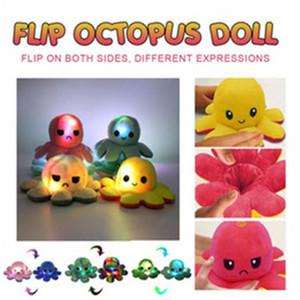 US STOCK FLIP Octopus peluche peluche jouets pour enfants mignon mignon sourire sourire émotion inversable animal poupée poupée poupée enfants cadeau en gros