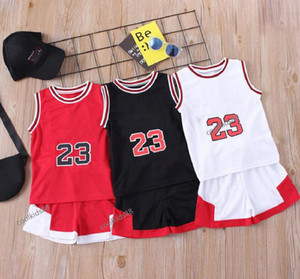Boys Girls Sports Basketball Clothes Suit Summer Baby Children's Fashion Leisure Letters Sleeveless Baby Vest + T-shirt 2pcs sets kids