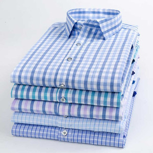 New Arrival Youth Dress Blouse Men Casual Cotton Plaid Long Sleeve Shirts Striped Men's Business Formal Plaid Shirt Camisa