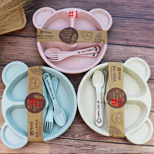 Cartoon Baby Kids Tableware Set Wheat Straw Dinnerware Feeding Food Plate Dishes Bowl Set With Spoon Fork ECO-friendly Tableware RRA4185