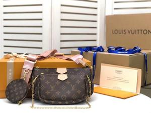 Multi Pochette accesorios accesorios bolso bolso de cuero genuino Flor de cuero Hombro Crossbody Bag Ladies Monederas 3 PCS bolsas de bolsas